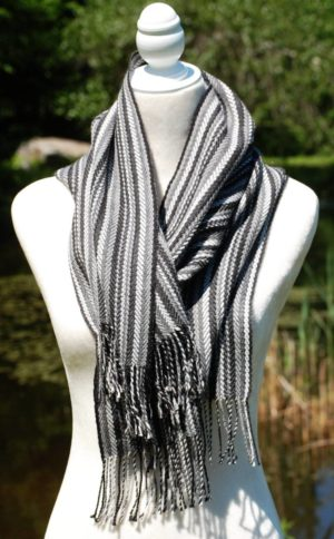 Pure Baby Alpaca Hand Woven Scarf in Greys