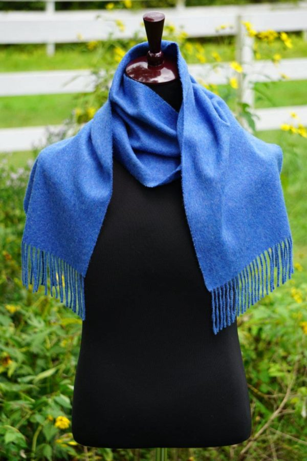 Pure Baby Alpaca Plush Scarf in Cerulean Blue
