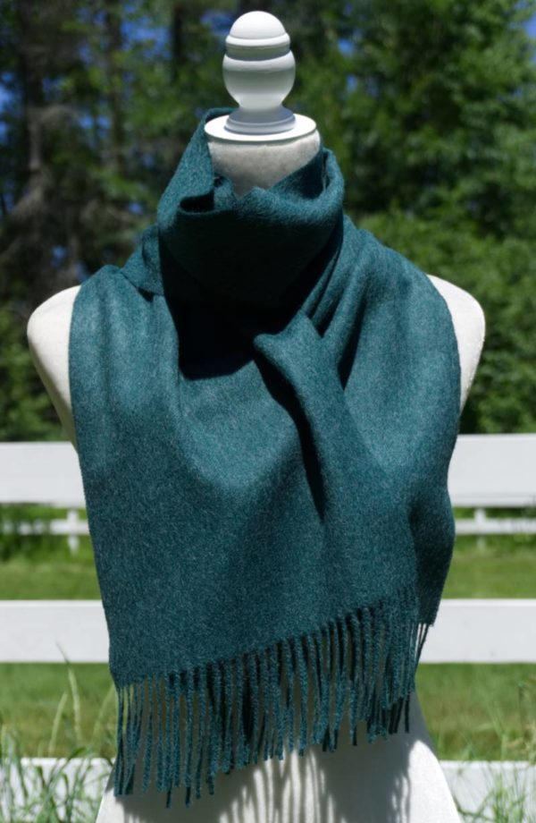 Pure Baby Alpaca Plush Scarf in Hunter Green