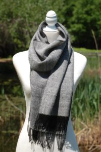 Pure Baby Alpaca Woven Scarf in Black and Silver