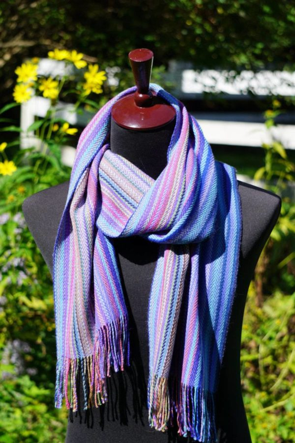 Pure Baby Alpaca Hand Woven Scarf in Blues