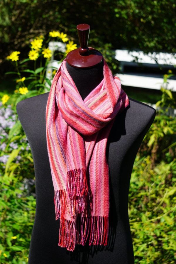 Pure Baby Alpaca Hand Woven Scarf in Pinks
