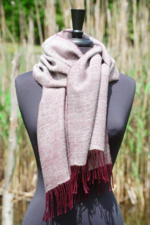 Pure Baby Alpaca Woven Scarf in Merlot and Silver