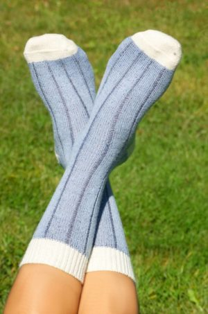 Baby Alpaca Wide Ribbed Comfort Socks