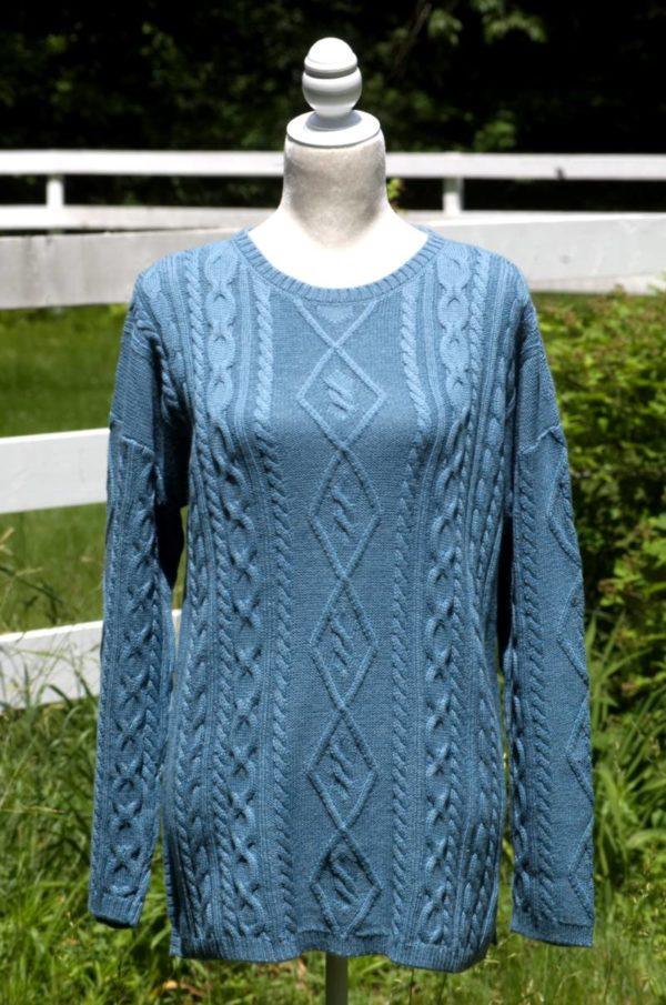 Pure Baby Alpaca Cabled Sweater in Ocean Blue
