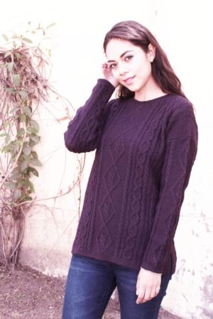Pure Baby Alpaca Cabled Sweater In Deep Plum
