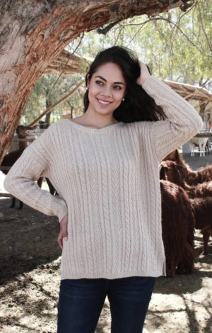 Pure Baby Alpaca Cable and Wheat Pattern Pullover