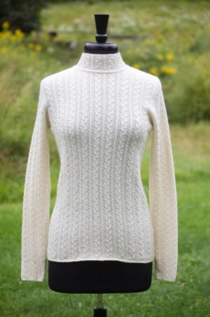 Pure Baby Alpaca Richly Textured Cable Pullover