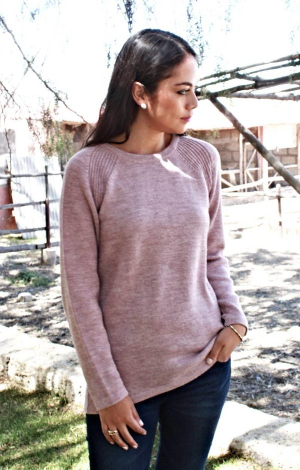 Pure Baby Alpaca Hi Low Pullover in Mauve