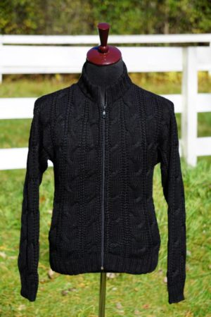 Men's Baby Alpaca Cabled Zip Jacket