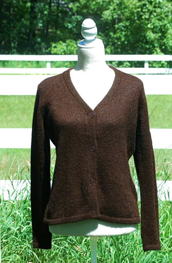 Pure Suri Alpaca Cardigan in Chocolate Brown