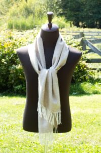 Baby Alpaca Herringbone Scarf in Rose Grey