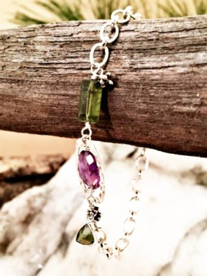 Sterling Silver Amethyst Charm Bracelet