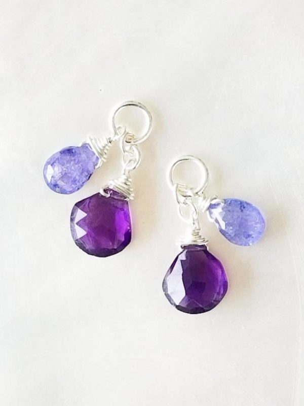 Amethyst and Tanzanite Gemstone Dangles