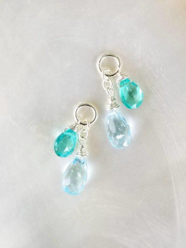 Blue Topaz and Blue Apatite Gemstone Dangles