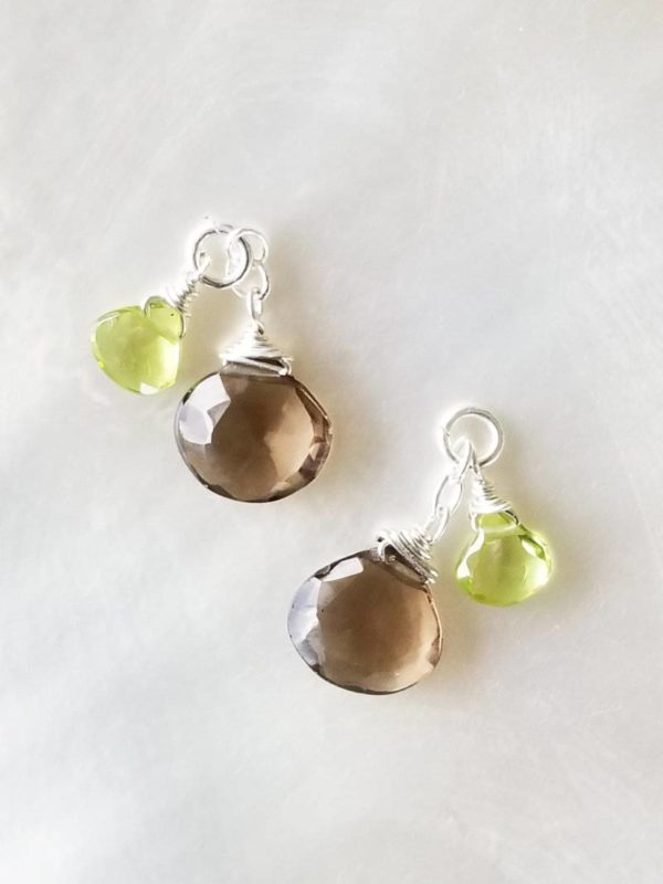 Smoky Quartz and Peridot Interchangeable Dangles