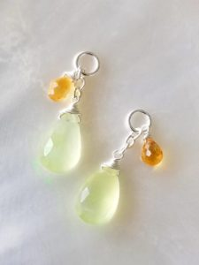 Prasiolite and Citrine Interchangeable Dangles
