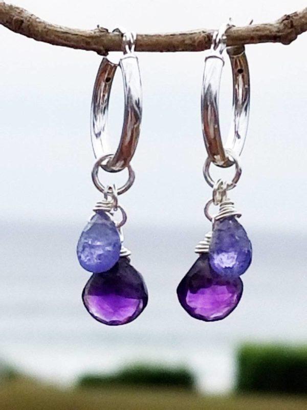 Amethyst Interchangeable Gemstone Earrings