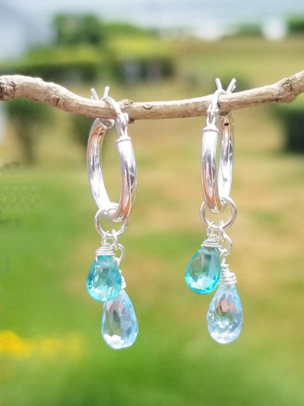 Prasiolite and Aquamarine Gemstone Earrings