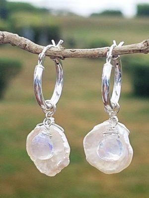 Keshi Freshwater Pearl and Moonstone Earrings
