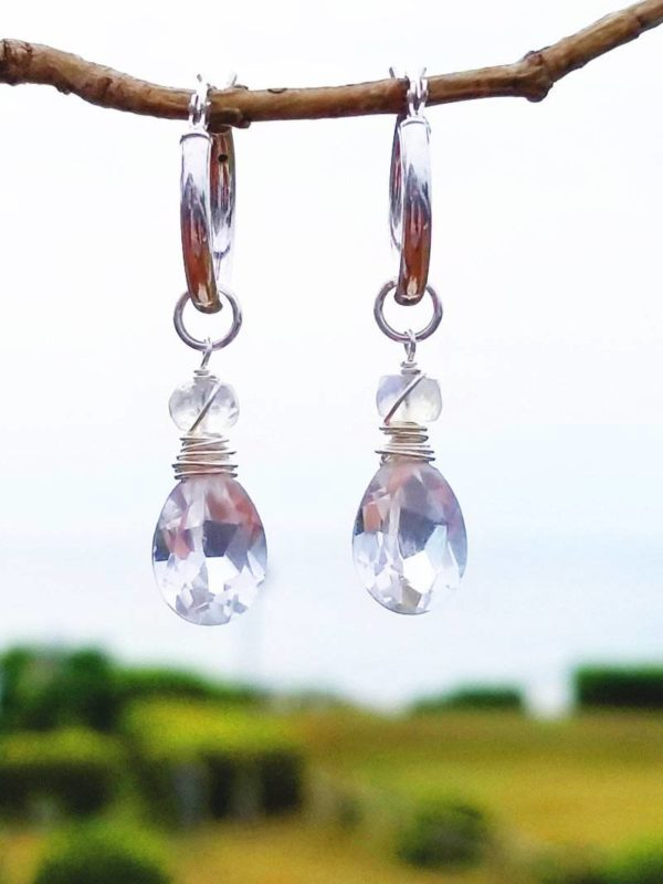 Quartz Crystal and Moonstone Earrings