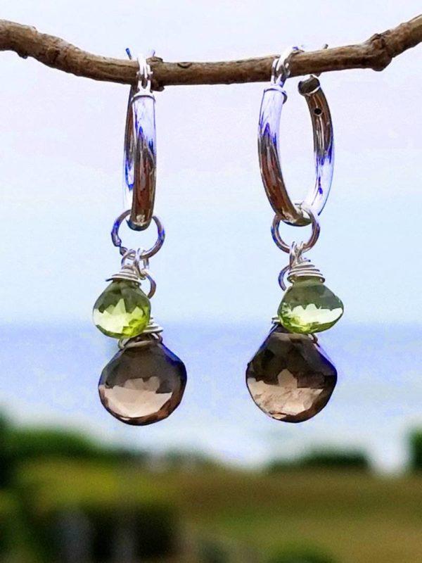 Smoky Quartz and Peridot Gemstone Earrings