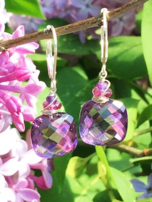 Amethyst and Garnet Sterling Earrings