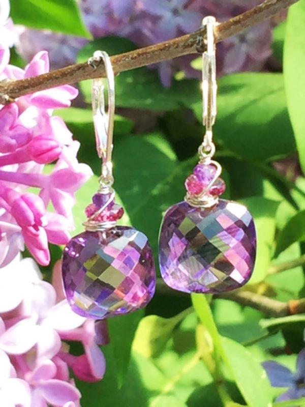 Amethyst and Garnet Sterling Earrings