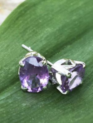 2 Carat Amethyst Gemstone Post Earrings