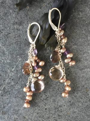 Ametine Gemstone and Pearl Earrings
