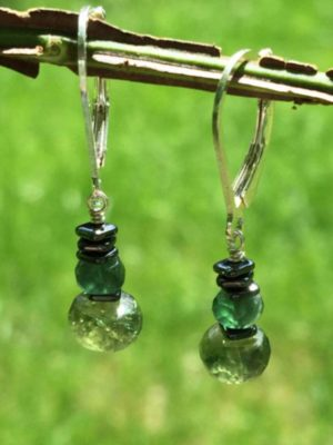 Green Apatite with Hematite Earrings