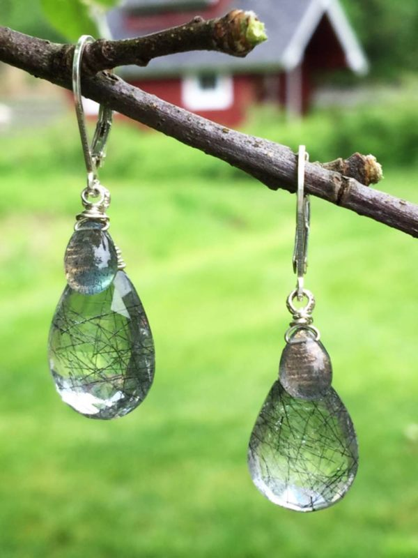Tourmalinated Quartz Earrings with Labradorite