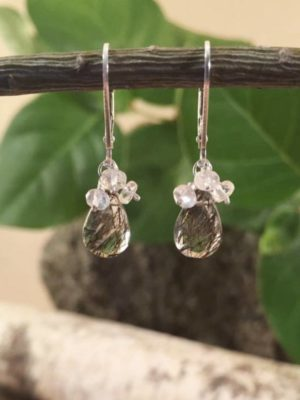 Black Tourmalinated Quartz and Moonstone Earrings