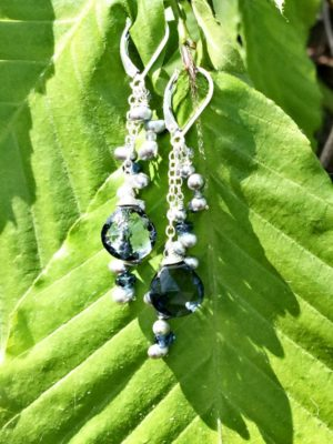 Blue Quartz and Pearl Sterling Silver Earrings
