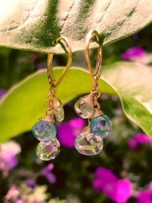 Blue Topaz, Apatite and Aquamarine  Earrings