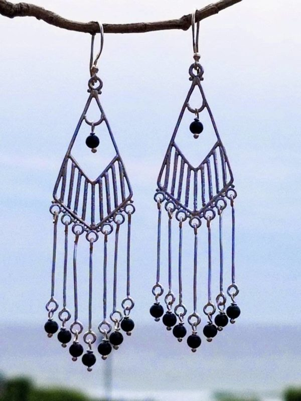 Sterling Silver and Onyx Raindrops Earrings