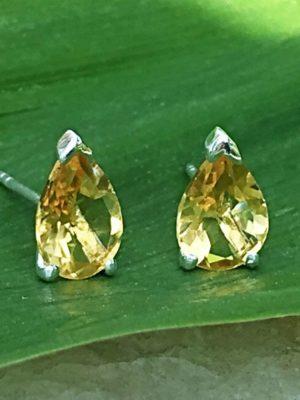 2.5 Carat Citrine Gemstone Post Earrings