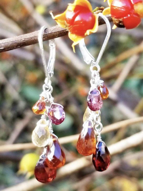 Garnet, Hessonite and Citrine Gemstone Earrings
