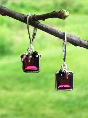 Garnet and Black Spinel Gemstone Earrings