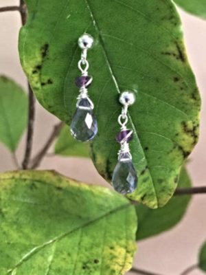 Iolite Teardrop and Amethyst Gemstone Earrings