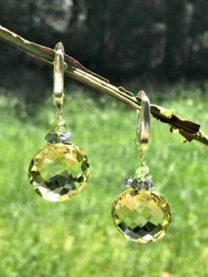 Jumbo Lemon Topaz, Sapphire and Peridot Earrings