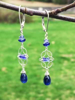 Indigo Kyanite and Sterling Silver Earrings
