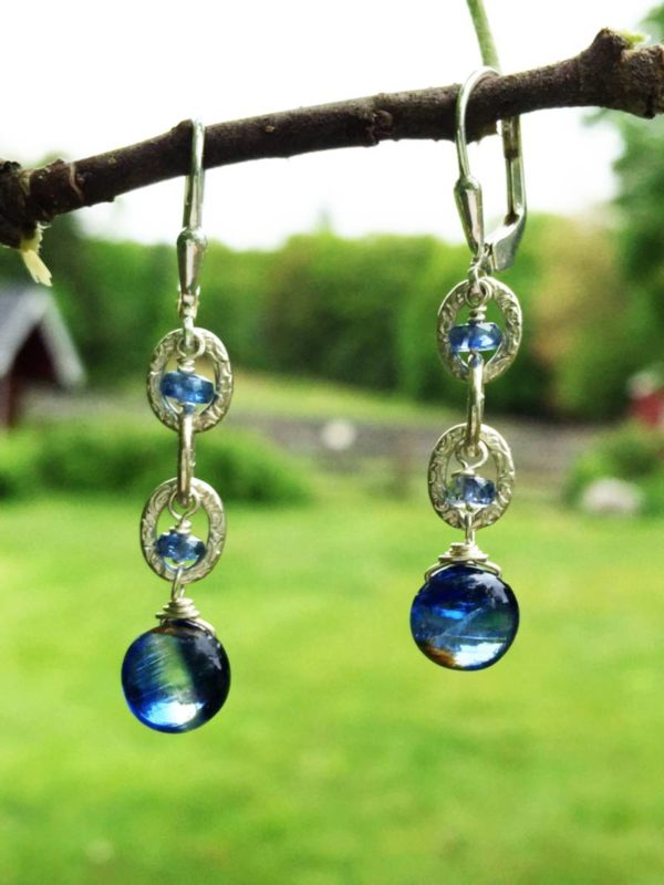 Kyanite Coin Chain Drop Earrings
