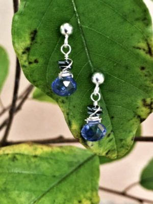 Kyanite with Stacked Hematite Gemstone Earrings