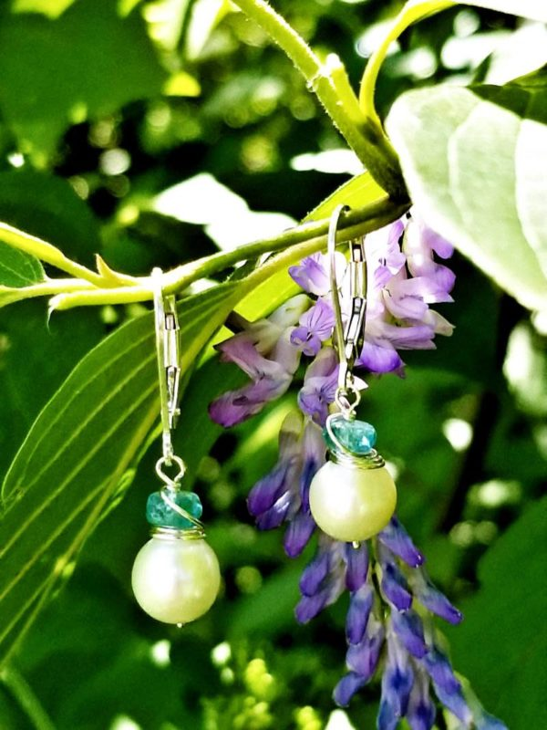 Blue Apatite and Pearl Earrings