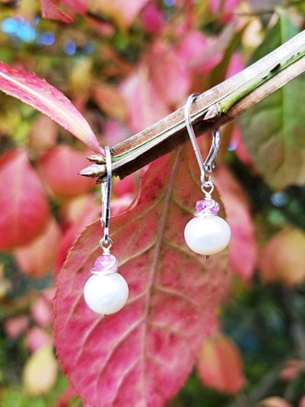 Pearl and Pink Sapphire Sterling Silver Earrings
