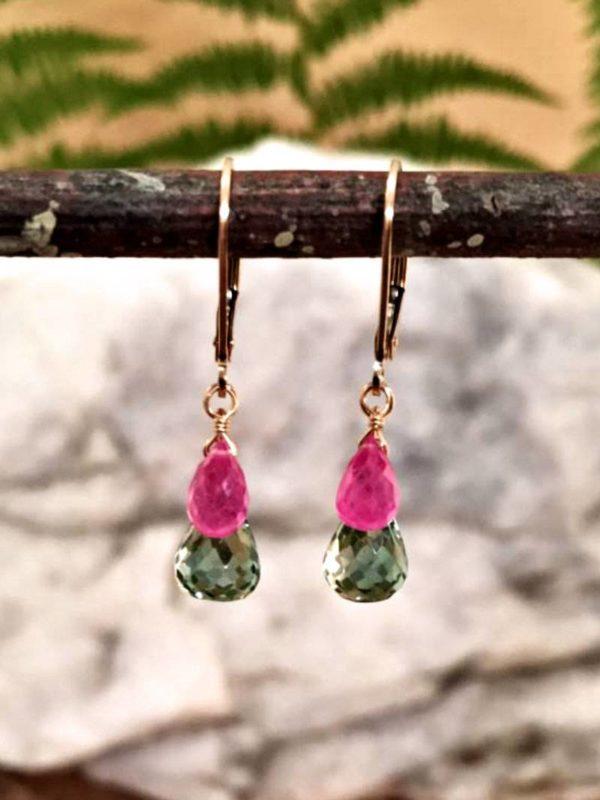Prasiolite and Ruby Teardrop Gemstone Earrings