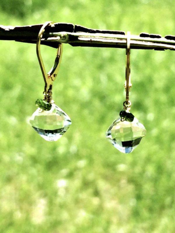 Prasiolite and Diopside Earrings