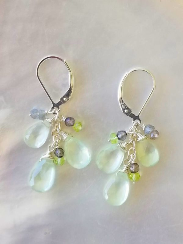 Prasiolite, Labradorite and Peridot  Earrings