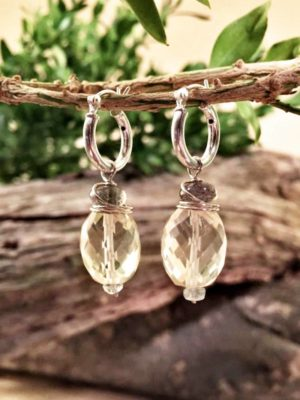 Lemon Quartz and Labradorite Sterling Earrings